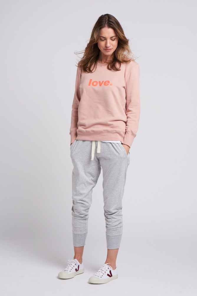 Load image into Gallery viewer, Boyfriend Sweater Dusty Pink Love Sweater Organic Crew