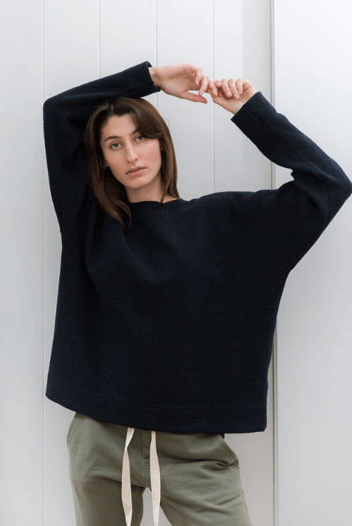 Load image into Gallery viewer, Waffle Crew Knit Sweater Organic Crew