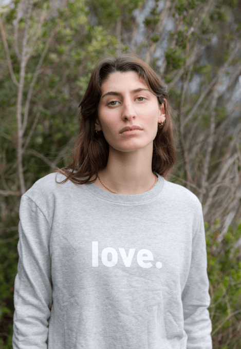 Load image into Gallery viewer, Boyfriend Sweater Grey Love Sweater Organic Crew