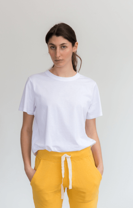 Load image into Gallery viewer, boyfriend tee white Tee Shirt Organic Crew