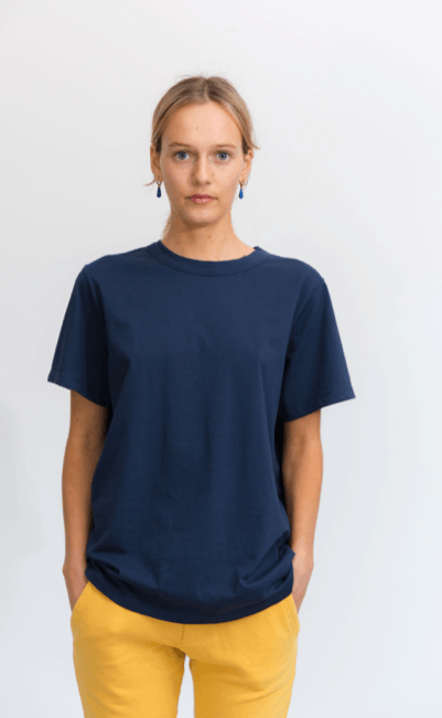 Load image into Gallery viewer, boyfriend tee navy Tee Shirt Organic Crew