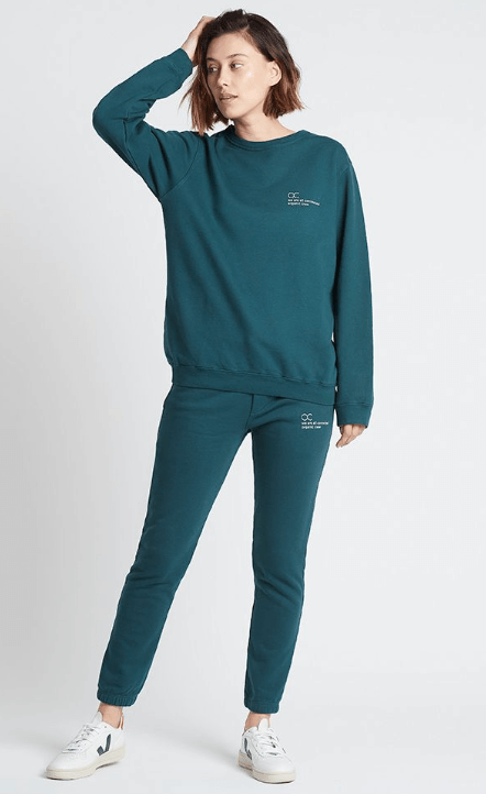 Load image into Gallery viewer, connected jogger sweater teal Sweater Organic Crew