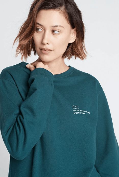 connected jogger sweater teal Sweater Organic Crew