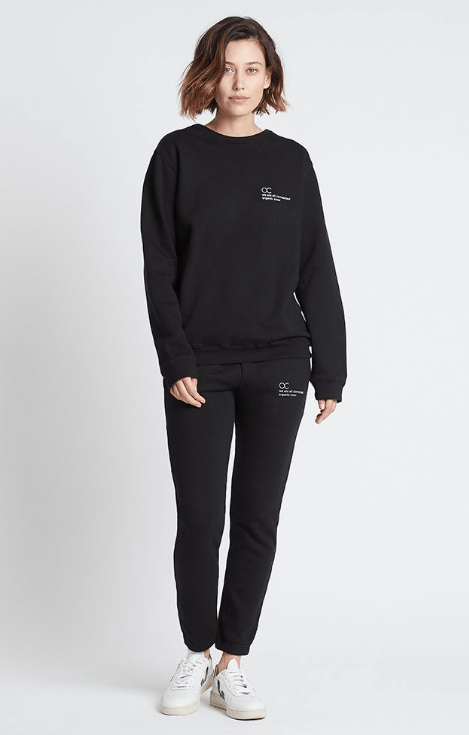 Load image into Gallery viewer, connected jogger sweater black Sweater Organic Crew