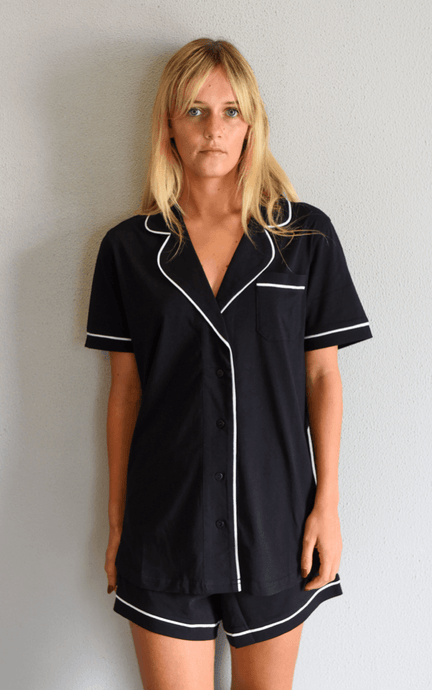 Portsea short sleeved pj set in black pj's Organic Crew