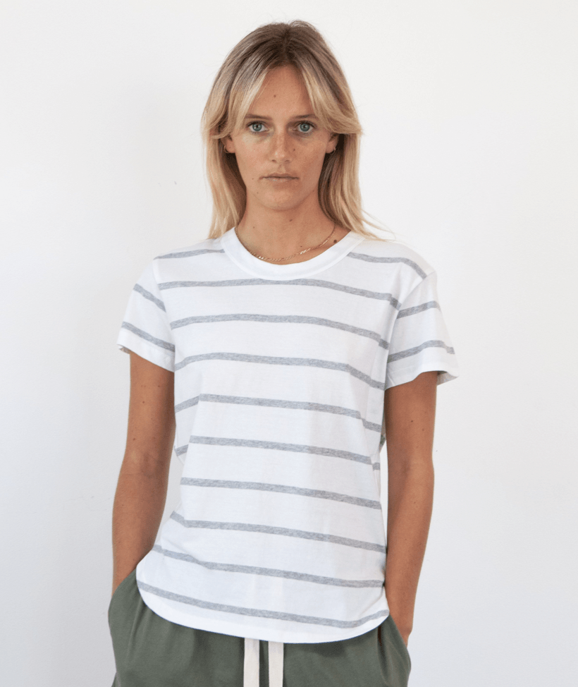 Super Relaxed Tee Grey / White Stripe Tee Shirt Organic Crew