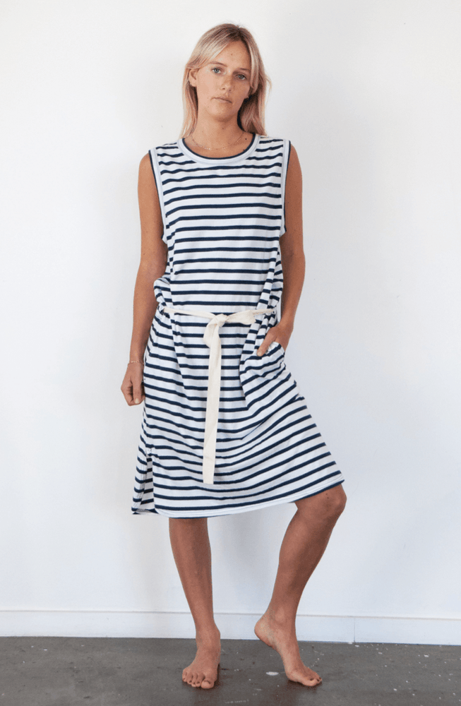 Load image into Gallery viewer, Dunes Dress in Stripe dress Organic Crew