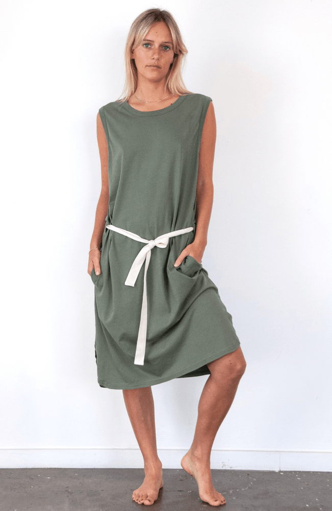 Load image into Gallery viewer, Dunes Dress in Khaki dress Organic Crew