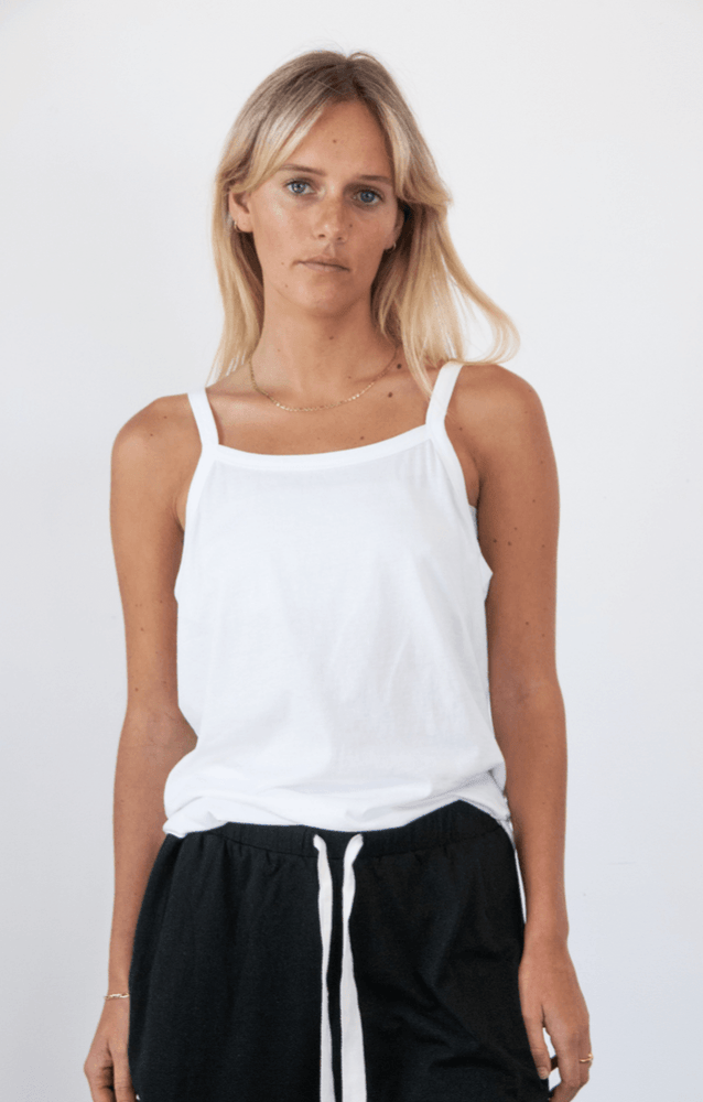 Load image into Gallery viewer, Spindrift Singlet in White Tank Organic Crew