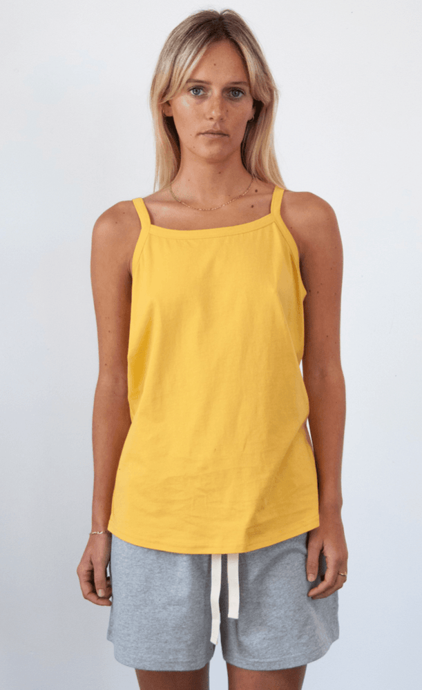Load image into Gallery viewer, Spindrift Singlet in Saffron Tank Organic Crew