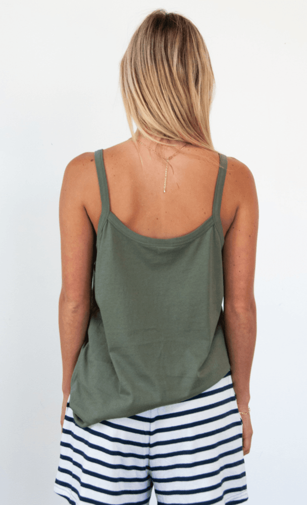 Load image into Gallery viewer, Spindrift Singlet in Khaki Tank Organic Crew