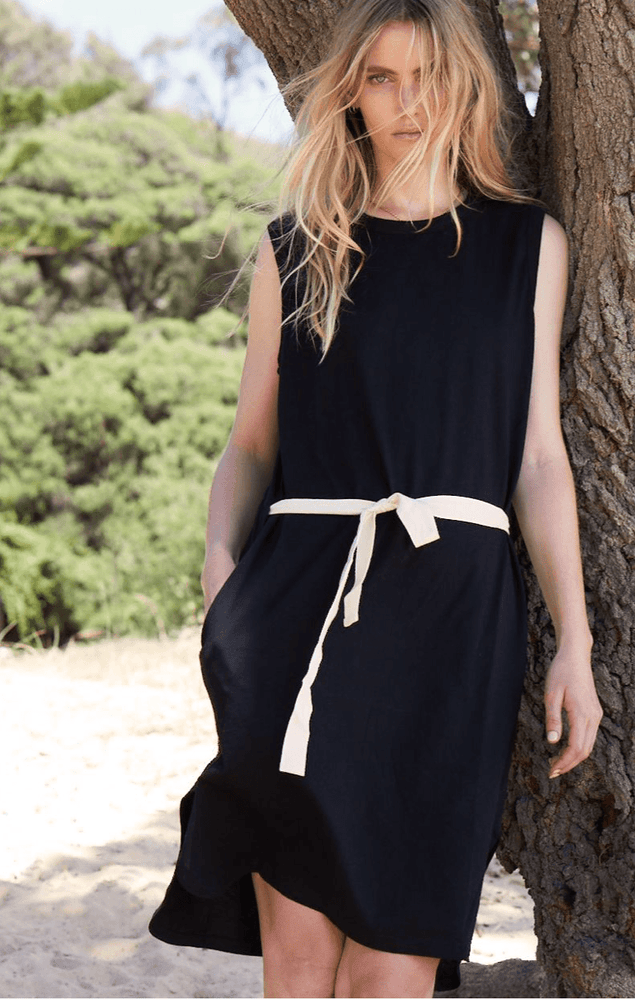 Load image into Gallery viewer, Dunes Dress in Black dress Organic Crew