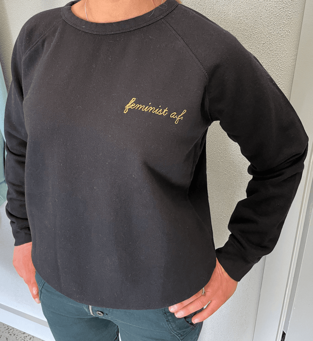 Crop Sweater black feminist Sweater Organic Crew