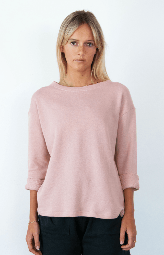 Load image into Gallery viewer, Summer Sweater Dusty Pink Sweater Organic Crew