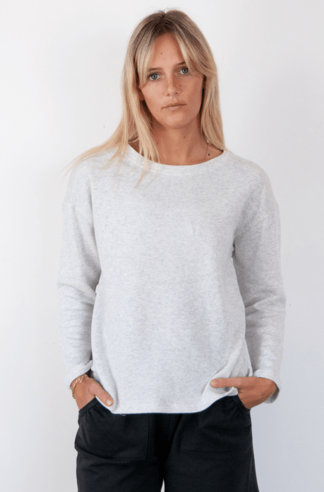 Load image into Gallery viewer, Summer Sweater Grey Marl Sweater Organic Crew