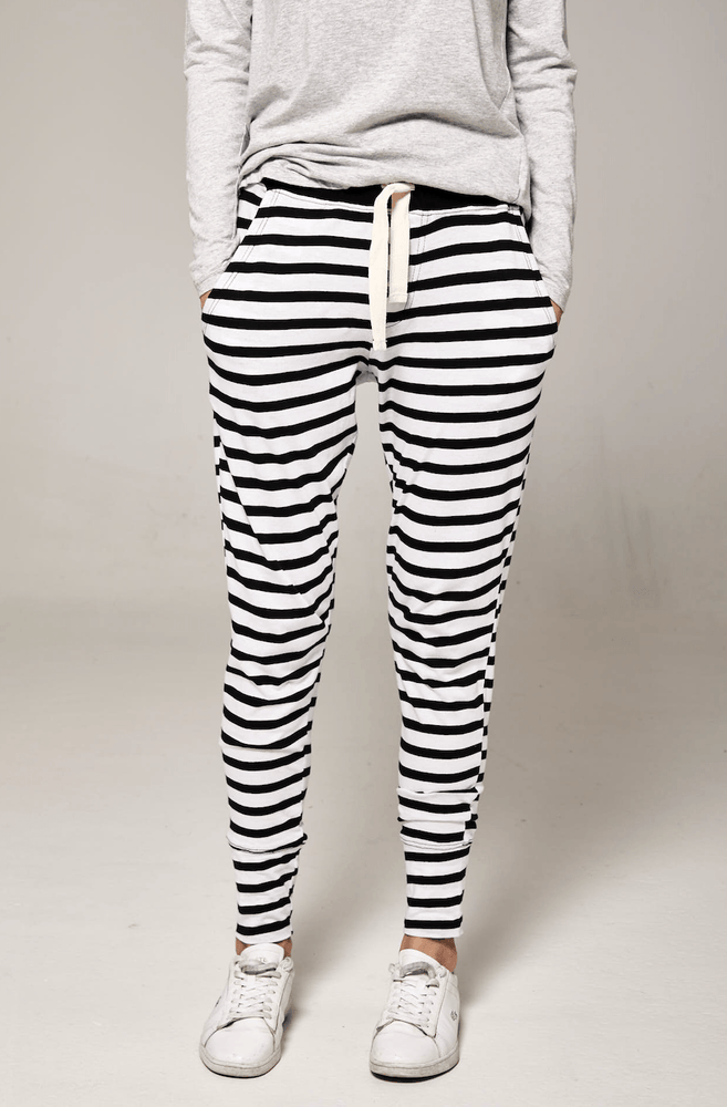 Load image into Gallery viewer, Lounge Pant Navy & White stripe pants Organic Crew