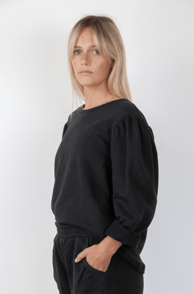 Load image into Gallery viewer, Puff Sweater black Sweater Organic Crew