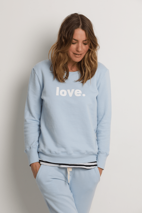 Boyfriend Sweater Pale Blue Love Sweater Organic Crew