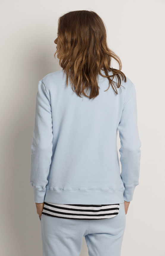 Load image into Gallery viewer, Boyfriend Sweater Pale Blue Love Sweater Organic Crew