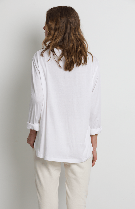 Load image into Gallery viewer, Flinders Boxy Tee White l/s tee Organic Crew