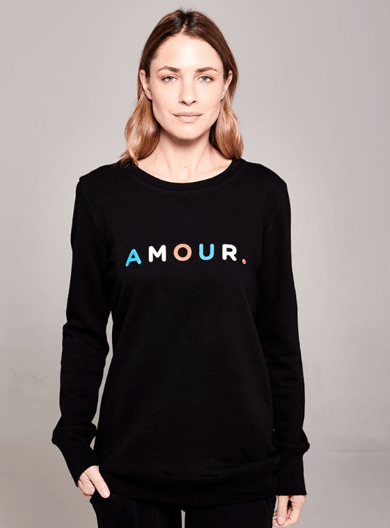 Load image into Gallery viewer, Boyfriend Sweater Black Amour Sweater Organic Crew