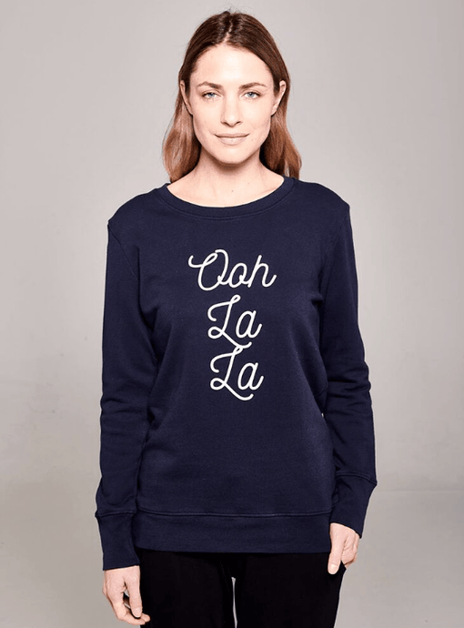 Boyfriend Sweater Navy Ooh La La Sweater Organic Crew