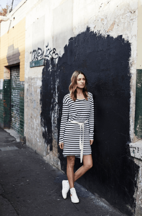 Load image into Gallery viewer, Venice Dress Stripe dress Organic Crew