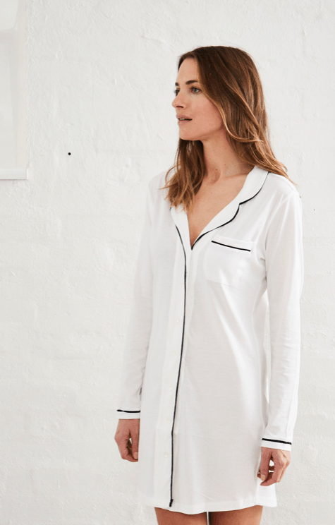 Load image into Gallery viewer, parisian nightshirt white pj's Organic Crew