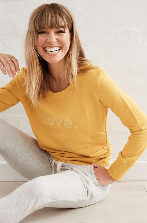 Load image into Gallery viewer, Boyfriend Sweater Saffron Love Sweater Organic Crew
