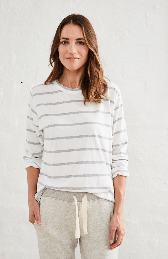 Load image into Gallery viewer, Flinders Boxy Tee Stripe l/s tee Organic Crew