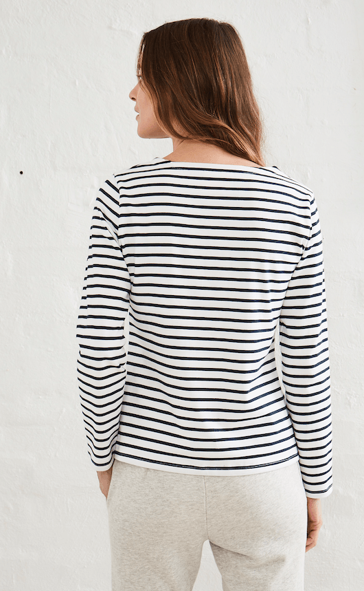 Load image into Gallery viewer, Frenchy Long Sleeve Navy & White l/s tee Organic Crew