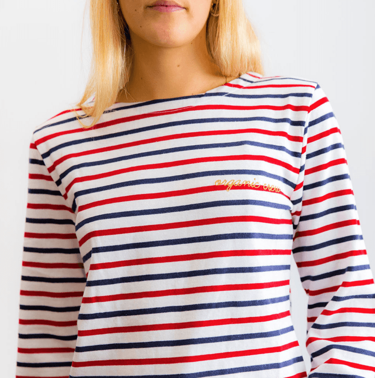 Load image into Gallery viewer, Frenchy Long Sleeve Red, Navy & White OC l/s tee Organic Crew
