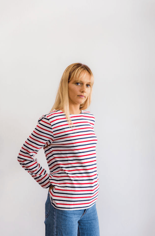 Frenchy Long Sleeve Red, Navy & White Plain l/s tee Organic Crew