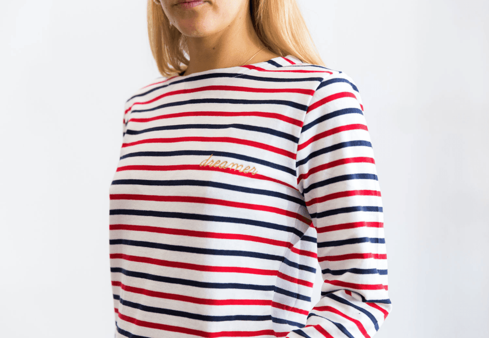 Load image into Gallery viewer, Frenchy Long Sleeve Red, Navy & White Dreamer l/s tee Organic Crew