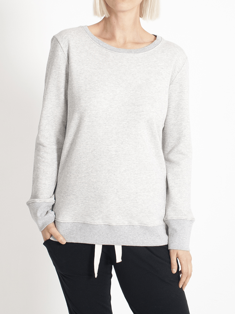 Load image into Gallery viewer, Boyfriend Sweater Grey Plain Sweater Organic Crew