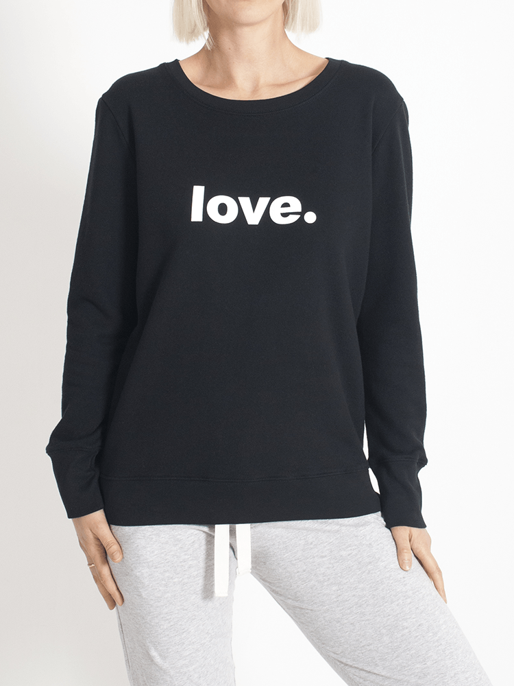 Boyfriend Sweater Black love Sweater Organic Crew