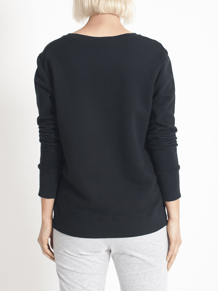 Load image into Gallery viewer, Boyfriend Sweater Black love Sweater Organic Crew