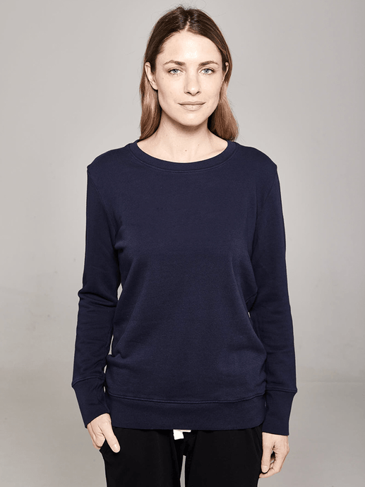 Boyfriend Sweater navy plain Sweater Organic Crew