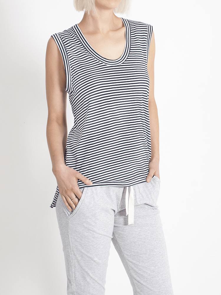 Load image into Gallery viewer, Perfecto Tank Fine Stripe Tank Organic Crew