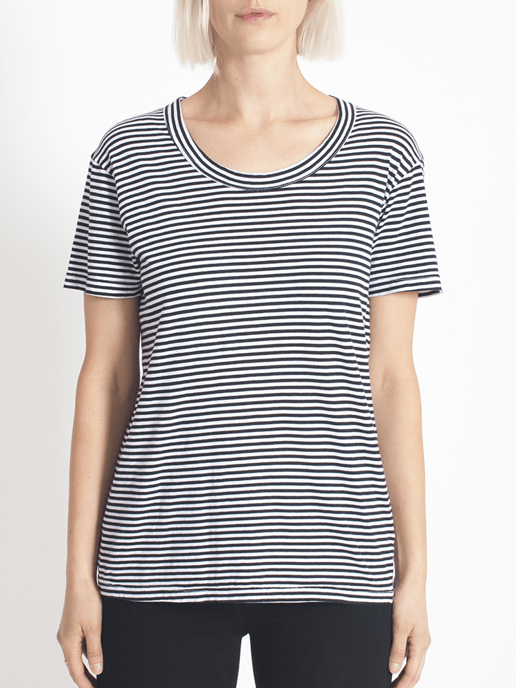 Load image into Gallery viewer, super relaxed tee fine stripe Tee Shirt Organic Crew