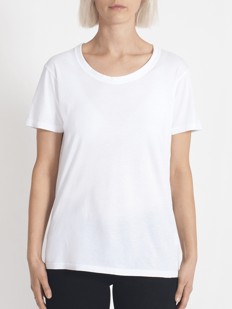 Load image into Gallery viewer, super relaxed tee white Tee Shirt Organic Crew