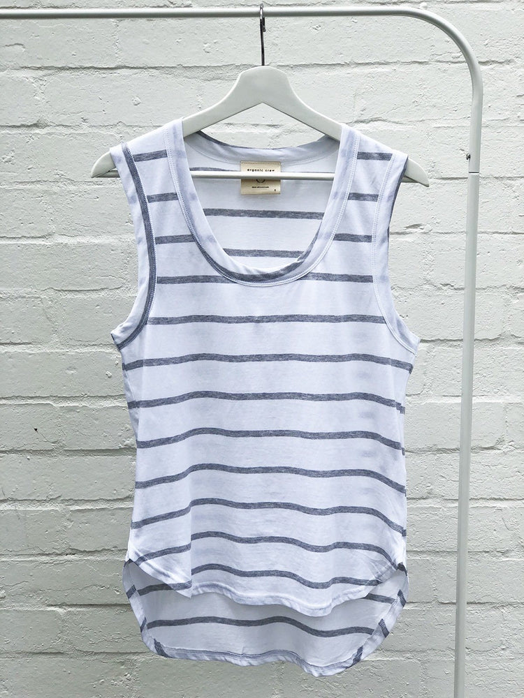 Load image into Gallery viewer, Perfecto Tank Grey / White Stripe Tank Organic Crew