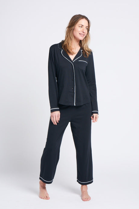 Portsea PJ Set long Black General Organic Crew