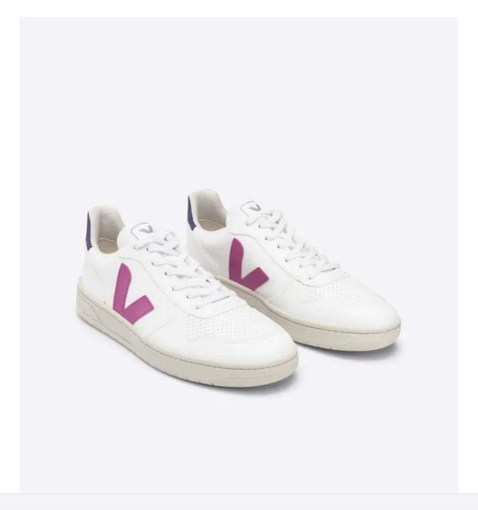 Load image into Gallery viewer, V-10 Sneakers In White Ultraviolet Purple Organic Crew