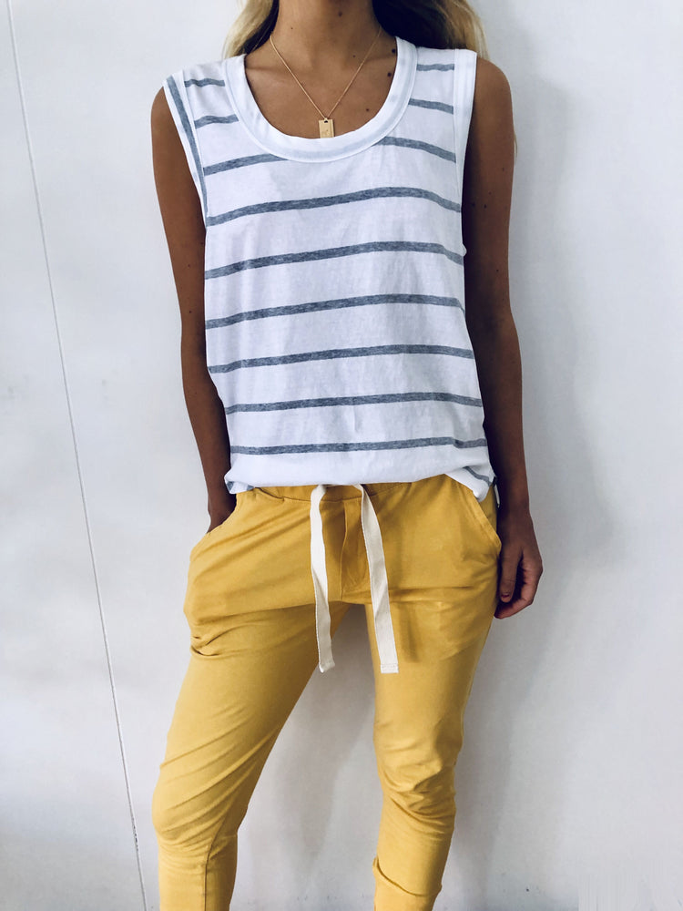 Load image into Gallery viewer, Perfecto Tank Grey / White Stripe