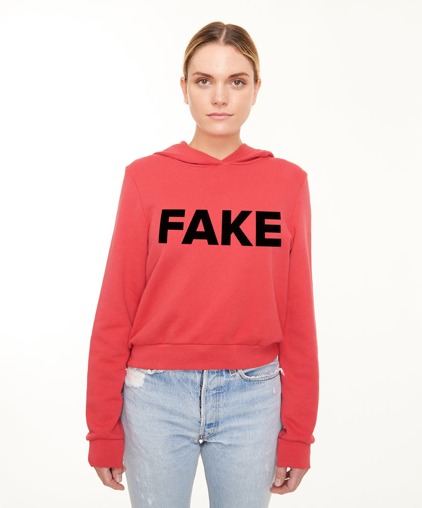 REPEL Clothing - Wear Your Voice!:Fake News Women's Crop Hoodie - REPEL Clothing, xs / red