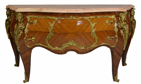 Rare Louis XV Style Gilt Bronze Mounted Marquetry Commode | European Finds