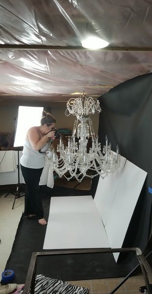 Sparkling clean chandelier ready to be photographed: how to clean a crystal chandelier