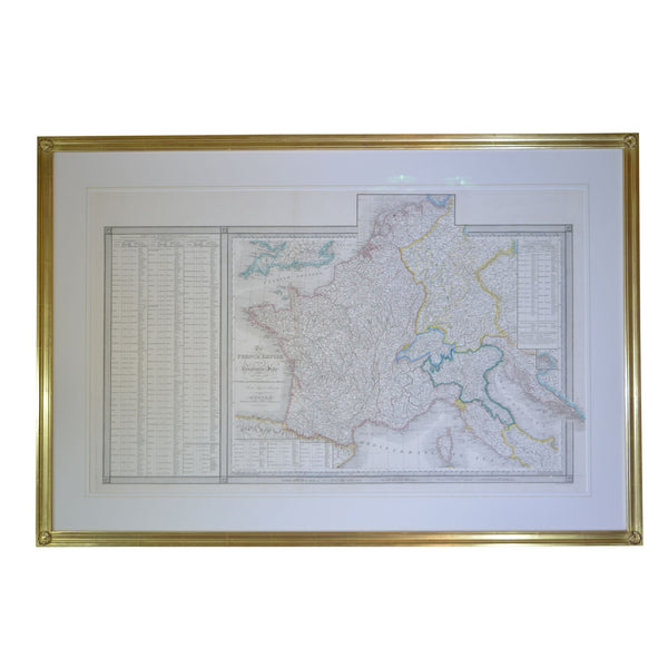 22 Karat Goldleaf Framed Map of Napolean's Empire 1811