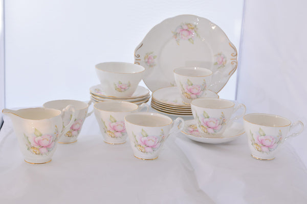 "Vintage Royal Stuart ""Pink Peonies"" Bone China Tea Service"